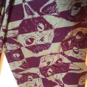 Lularoe Cat Face Purple Gray Leggings OS 2-10